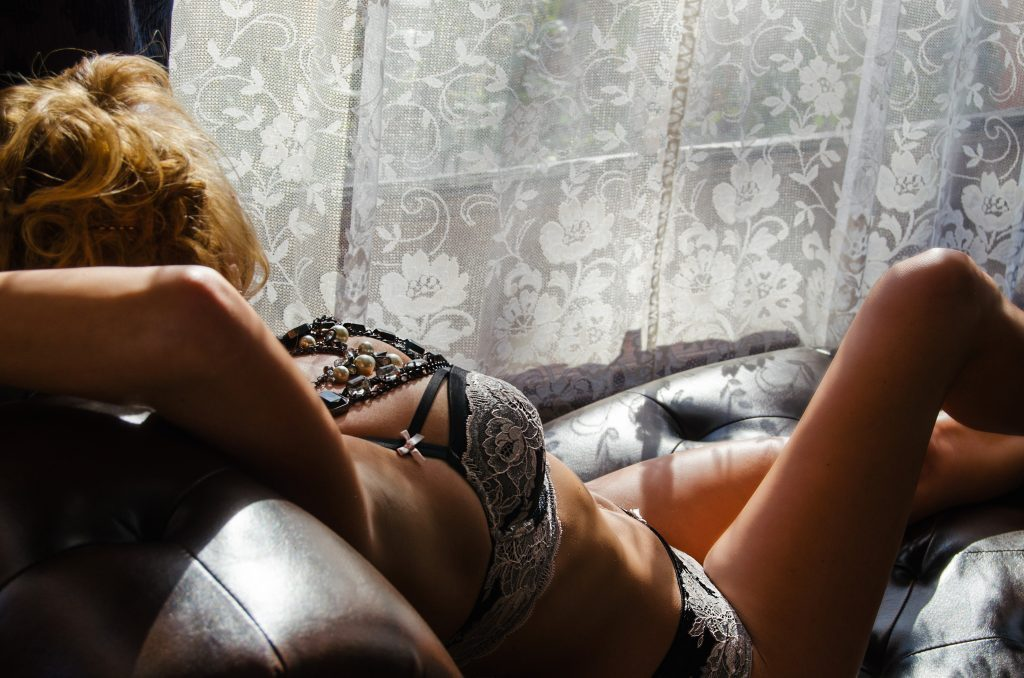 Girl on chaise boudoir