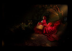 Lil red riding hood in the forest with wolf watching her