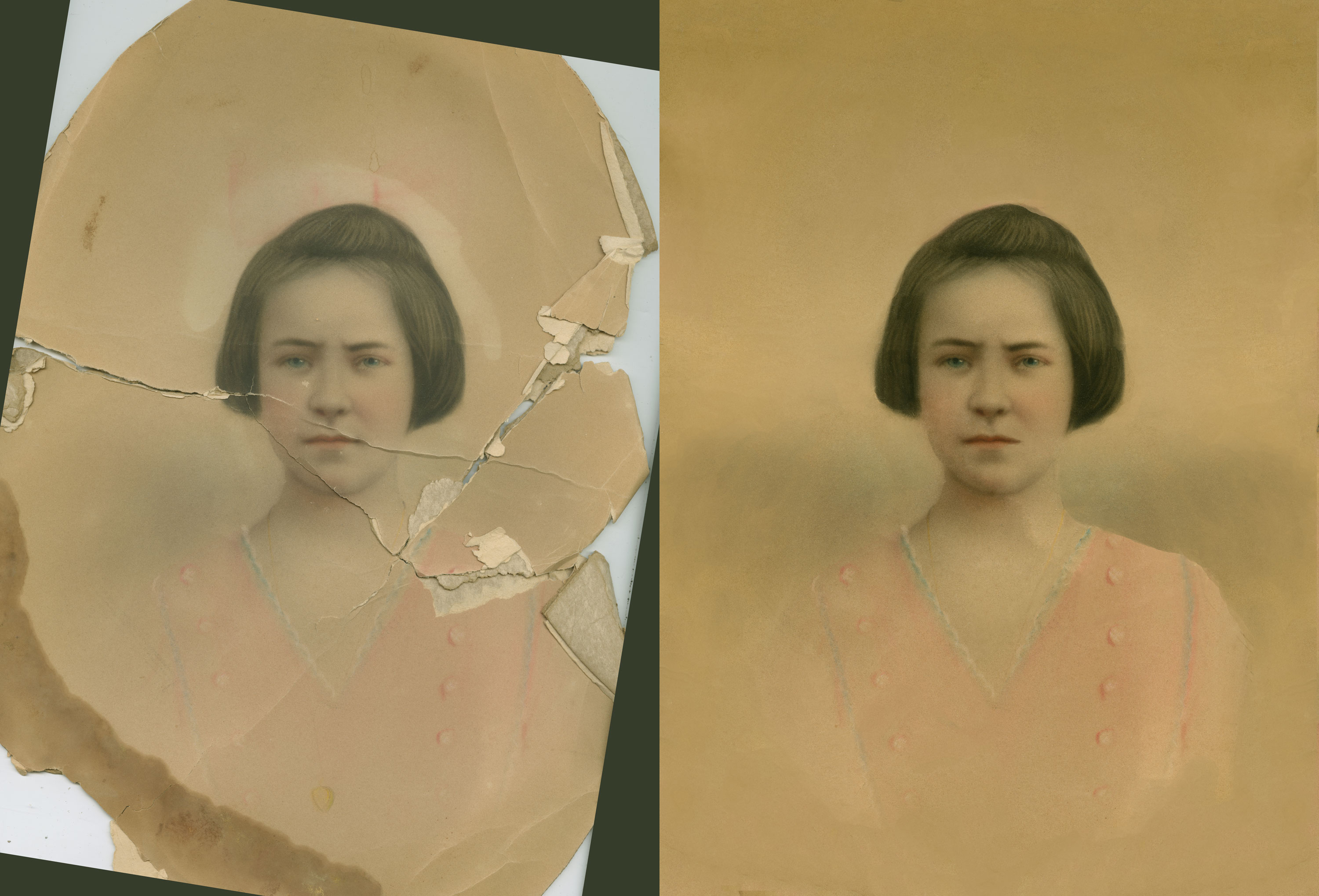 Before and after of a torn photo restoration