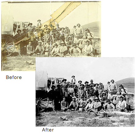 Photo restoration of an old western scene