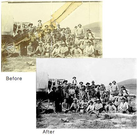 Photo restoration of an old western scene